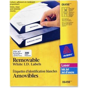 "Avery® Removable I.D. Labels 2-5/8"" x 1"" White 300/pkg"