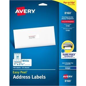 """Avery® Easy Peel® Address Labels 1"""" x 2-5/8"""" (750 Labels) Inkjet White 25 sheets/pkg"""