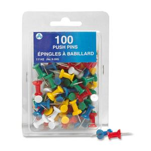 Westcott® Push Pins Assorted Colours 100/box
