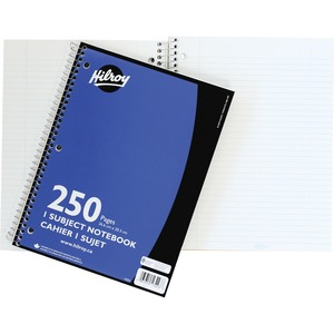 "Hilroy 1 Subject Notebook Three-hole Punched 10-1/2x8"" 250pgs"