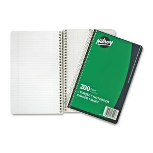 "Hilroy 1-Subject Notebook Coil Bound 9-1/2"" x 6"" Green 200 pgs"
