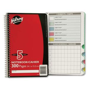 "Hilroy 5-Subject Notebook Ruled 9-1/2x6"" 300pgs"