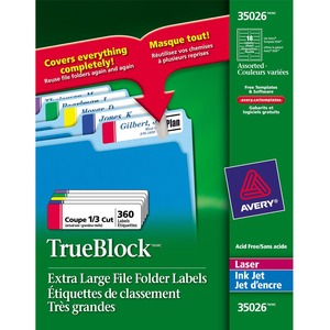 Avery® TrueBlock™ Extra Large Filing Labels Assorted 360/pkg