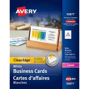 Avery® Clean Edge Business Cards Two-Sided Laser White 200/pkg