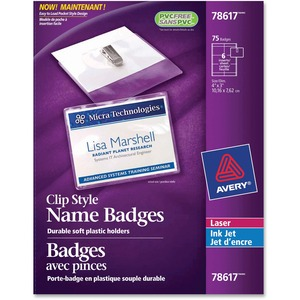 "Avery® Name Badge Kit Clip Holder 3"" x 4"" 75/box"