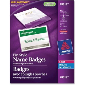 "Avery® Name Badge Kit Pin Holder 3"" x 4"" 100/box"