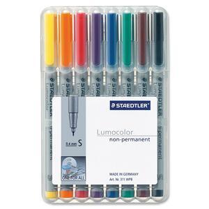 Staedtler® Lumocolor® Markers Washable Super-Fine Tip Assorted Colours 8/pkg