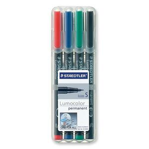 Staedtler® Lumocolor® Markers Permanent Super-Fine Tip Assorted Colours 4/pkg