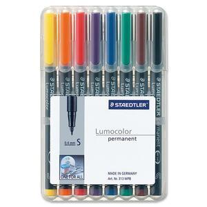 Staedtler® Lumocolor® Markers Permanent Super-Fine Tip Assorted Colours 8/pkg