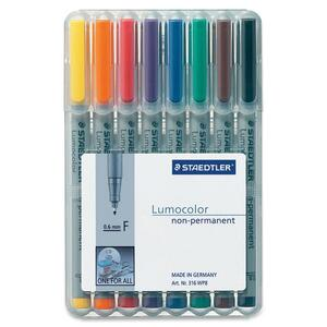 Staedtler® Lumocolor® Markers Washable Fine Tip Assorted Colours 8/pkg