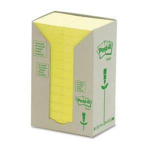 "Post-it® Recycled Note Tower 1-1/2"" x 2"" 100 sheets per pad Canary Yellow™ 24 pads/box"