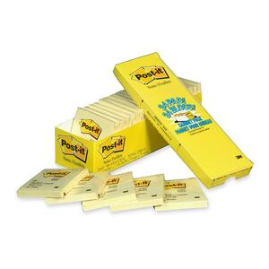 """Post-it® Notes Cabinet Pack 3"""" x 3"""" 90 sheets per pad Canary Yellow 24 pads/pkg"""