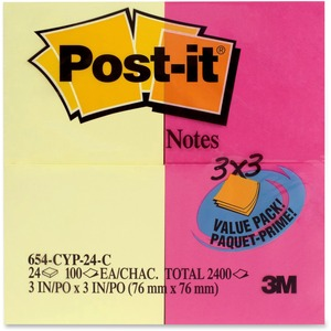 "Post-it® Notes Value Pack 3"" x 3"" 100 sheets per pad Assorted Colours 24 pads/pkg"