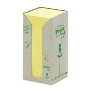 "Post-it® Recycled Note Tower 3"" x 3"" 100 sheets per pad Canary Yellow 16 pads/box"