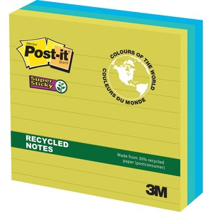 "Post-it® Super Sticky Notes 4"" x 4"" Lined 90 sheets per pad Assorted Bora Bora Colours 3 pads/pkg"