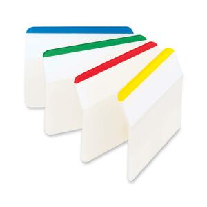 "Post-it® Filing Tabs Angled 2"" x 1-1/2"" Assorted Colours 6 tabs/pad 4 pads/pkg"