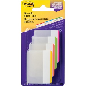 "Post-it® Filing Tabs Flat 2"" x 1-1/2"" Assorted 6 tabs/pad 4 pads/pkg"