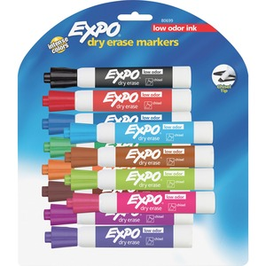 Expo® Low Odour Dry Erase Markers Chisel Tip Assorted Colours 12/pkg