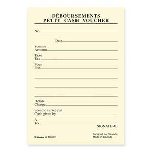 """Blueline® Petty Cash Voucher Pads 3-1/2x5"""" Bilingual 10/pkg"""