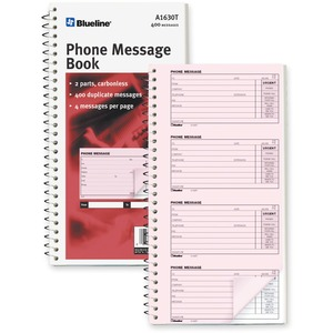 "Blueline® Phone Message Book 11"" x 5-11/16"" 400 sheets English"