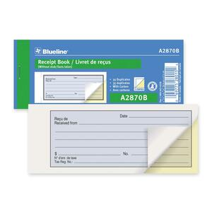 Blueline® Receipt Book 2-Part 35 Sets Bilingual