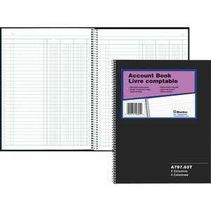 Blueline 797 Series Accounting Book 3 Column, 100 Sheets