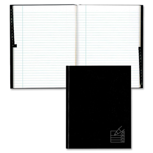 Blueline® Hard Cover Protective Edge Notebook Indexed 192 pgs Black