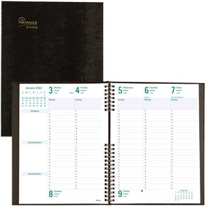 """Blueline® Timanager® CoilPro Weekly Business Diary 10-1/4"""" x 7-5/8"""" English Black"""