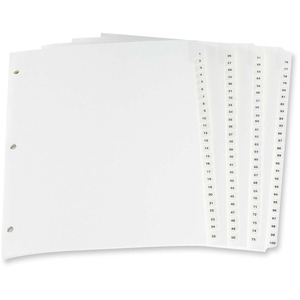 Oxford Numerical Tab Index Dividers 1-100 White