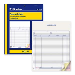 "Blueline® Carbonless Sales Orders 3-part 8-1/2x11"" English"