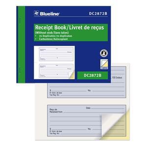 Blueline® Receipt Book Carbonless 2-Part 70 sets Bilingual