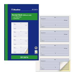 Blueline® Receipt Book Carbonless 2-Part 140 sets Bilingual