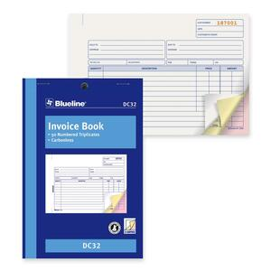 "Blueline® Carbonless Invoice Book 3-part 5-3/8x8"" English"