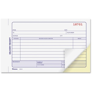 "Blueline® Carbonless Delivery Receipts 2-part 4-1/4x7"" English"