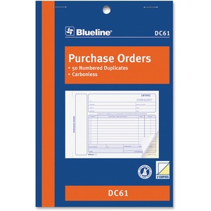 "Blueline® Carbonless Purchase Orders 2-part 5-3/8x8"" English"