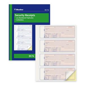 "Blueline® Carbonless Security Receipts 2-part 4/page 10-7/8"" x 8"" English"