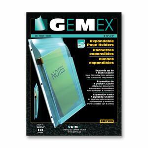 Gemex Expandable Pocket Page Protectors 5.5mil Clear Letter 5/pkg