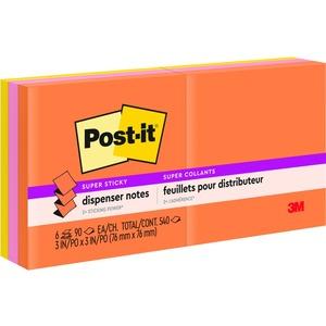 """Post-it® Pop-up Notes 3"""" x 3"""" 100 sheets per pad Assorted Rio De Janiero Colours 6 pads/pkg"""
