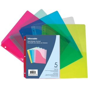 Winnable Slant Binder Pockets Assorted Colours 5/pkg
