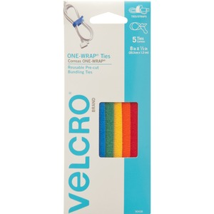 "Velcro® One-Wrap® Straps 8"" x 1/2"" Assorted 5/pkg"