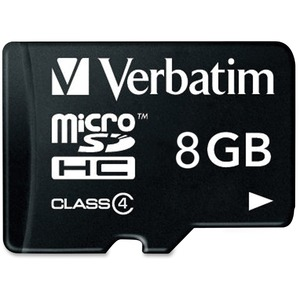 Verbatim 8GB microSD High Capacity Card Class 4 - 96807 / Mfr. No.: 96807