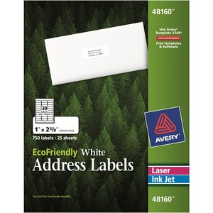 Labels Mail Eco 1x2-5/8, 750/box
