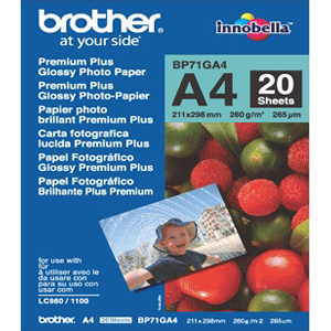 Brother Innobella Premium Plus BP71GA4 - Papier photo brillant - A4 (210 x 297 mm) - 260 g/m2 - 20 - BP71GA4
