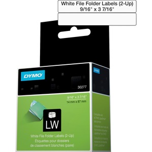 """DYMO® LabelWriter® File Folder Labels 9/16"""" x 3-7/16"""" White 260/box"""