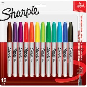 Sharpie® Fine Point Permanent Markers Assorted Colours 12/pkg