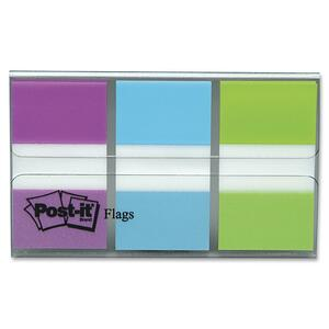 "Post-it® Flags 1"" 20 sheets per pad, Bright Blue, Purple, Bright Green 3 pads/pkg"