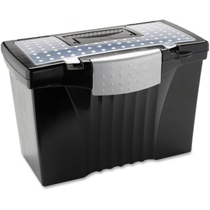 "Storex® File Box with Top Organizer 17"" Black"