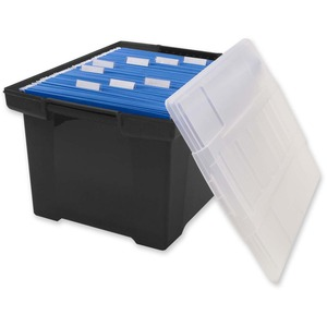 Storex® Comfort Grip Letter/Legal File Tote Black with Clear Lid