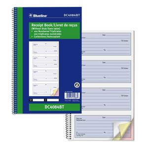 Blueline® Receipt Book Carbonless 3-Part 100 sets Bilingual