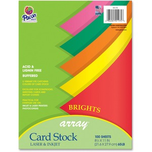 Array® Heavyweight 65 lb Card Stock Assorted, 5 Colors Pack of 100